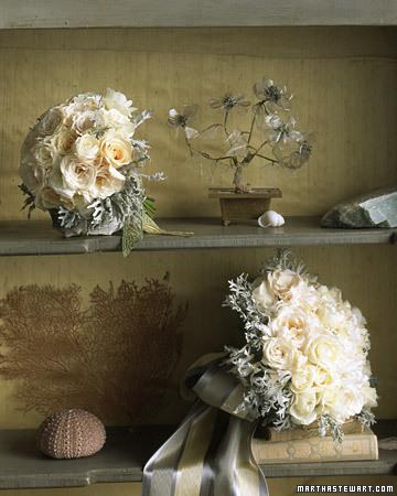 Silver White Bridal Bouqet